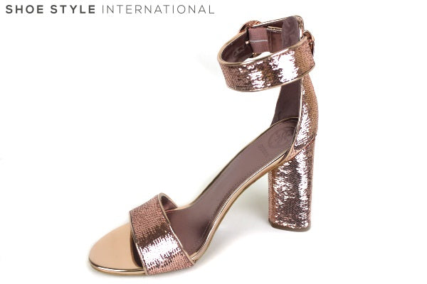 Guess Abha, block high heel with Ankle Buckle Strap open toes, Colour Rose Gold, Shoe Style International