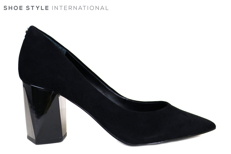Guess Bafi, Medium Heel Court shoe with a pointed toe in Black Suede, Ireland Shoe Shops online, Shoe Style International, Location Wexford Gorey, Ireland