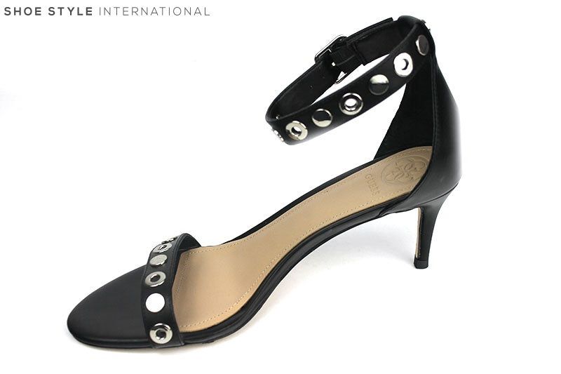 Guess Narele Low Heel Sandal with Ankle Strap, Colour Black with silver stud detail on the ankle strap and across the one strap at the top of the foot, shoe style international wexford gorey ireland