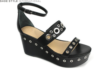 Guess Niomi Wedge sandal with Ankle Strap and studded detail, colour black, shoe style international Wexford Gorey Ireland