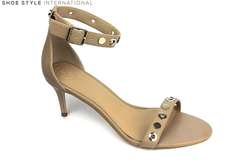 Guess Narele Low Heel Sandal with Ankle Strap, Colour Nude with silver stud detail on the ankle strap and across the one strap at the top of the foot, shoe style international wexford gorey ireland