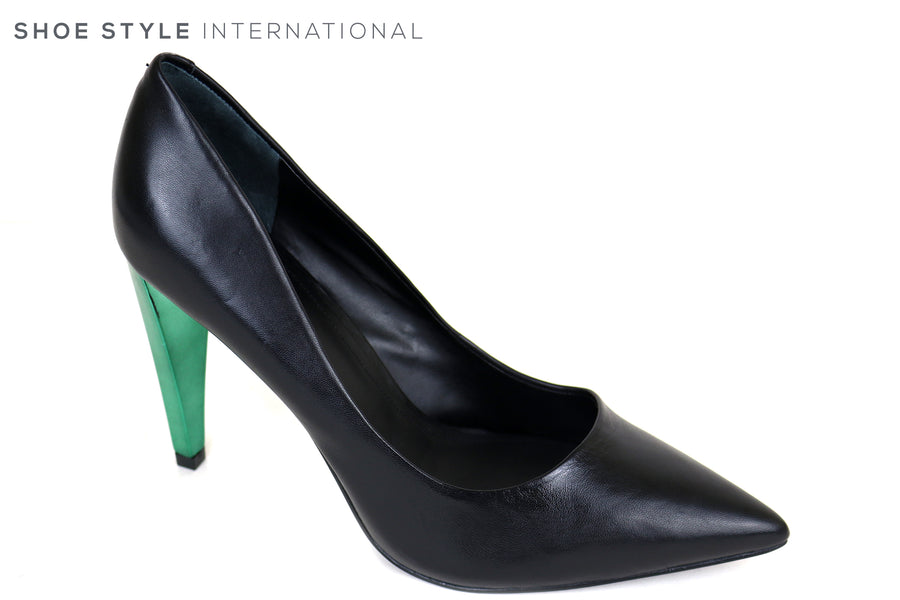 Guess Obella, Black Leather High Heel Court shoe with a pointed toe, The heel is metallic Green Ireland Shoe Shops online, Shoe Style International, Location Wexford Gorey, Ireland