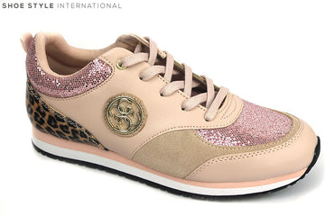 Guess Reeta fashion trainer with laces, colour Blush with leopard print at the back of the shoe, Shoe Style International Wexford Ireland
