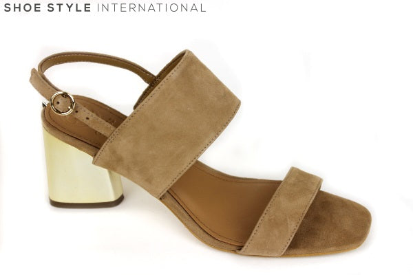 Guess Sedonne, open toe sandal with ankle strap, colour Tan with gold metallic block low heel. Shoe Style International