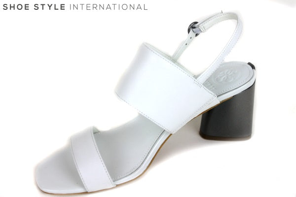 Guess Sedonne, open toe sandal with ankle strap, colour white with grey metallic block low heel. Shoe Style International