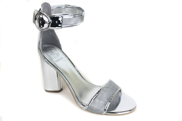 Guess Abha, block high heel with Ankle Buckle Strap open toes, Colour Silver, Shoe Style International