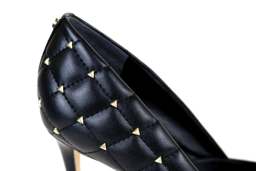 Guess Brinn, High Heel Pointed Toe Guess Court Shoe in Black Leather with quilted leather design and gold stud embellishmentIreland Shoe Shops online, Shoe Style International, Location Wexford Gorey, Ireland