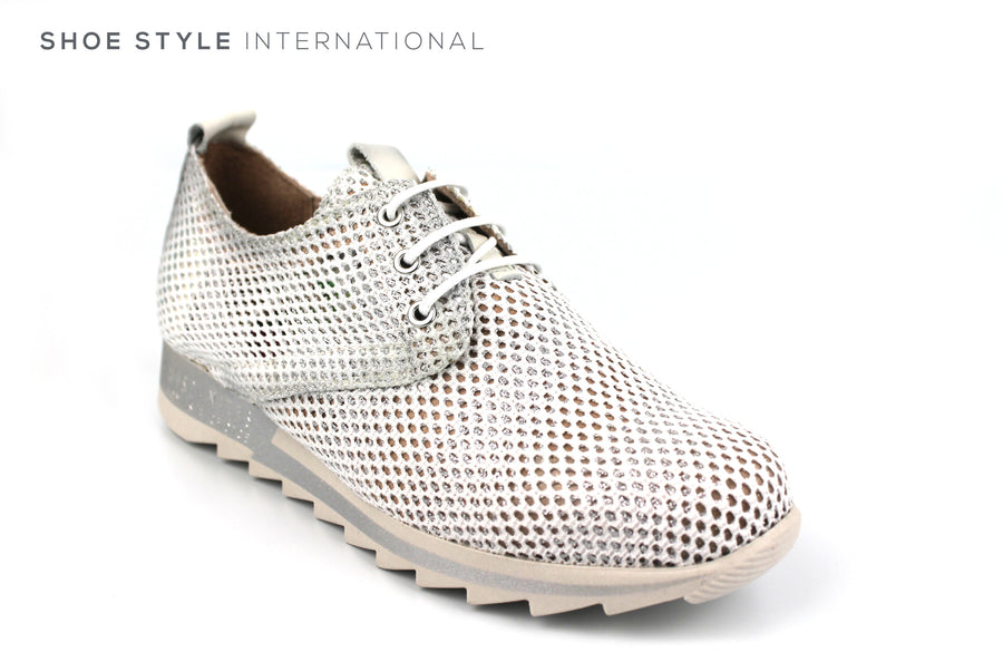 Hispantias HV 98717 White Fabric and Leather Lace up Casual Sneaker, Ireland Shoe Shops online, Shoe Style International, Location Wexford Gorey, Ireland