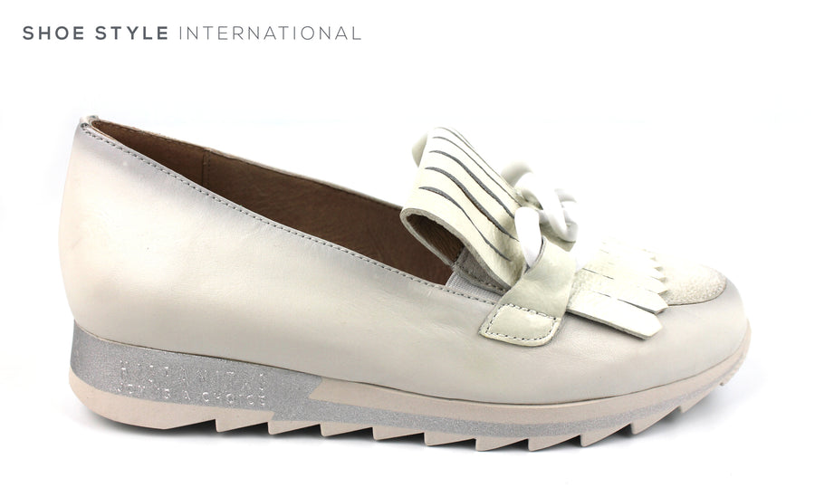 Hispantias HV 98740 White Leather Slip-on Low Wedge Casual Shoe with Fringe and White broche Detail Ireland Shoe Shops online, Shoe Style International, Location Wexford Gorey, Ireland
