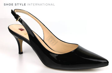 Hogl 6214 Slingback Medium Heel with a Pointed toe in Black Patent leather, Ireland Shoe Shops online, Shoe Style International, Location Wexford Gorey, Ireland