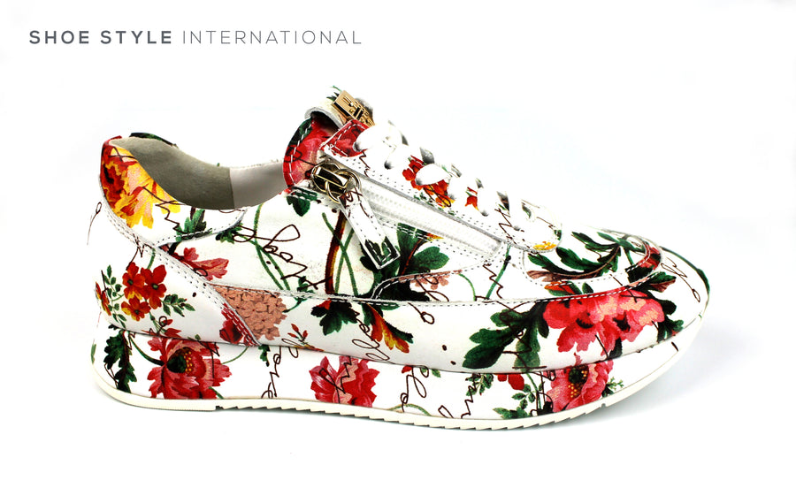 Hogl 1323, Hogl Sneaker in White Leather and Floral Print Design, side zips to close and Laces,Ireland Shoe Shops online, Shoe Style International, Location Wexford Gorey, Ireland