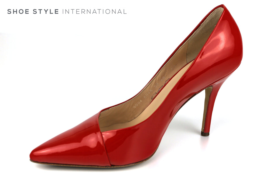 Hogl 9004, Classic Closed toe High Heel with a pointed toe in Patent Leather Colour Red Ireland Shoe Shops online, Shoe Style International, Location Wexford Gorey, Ireland