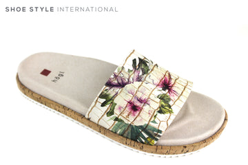 Hogl 0217 Sliders, Beige base colour with a flower detail in Multi colour across the broad strap at the front. Shoe Style International