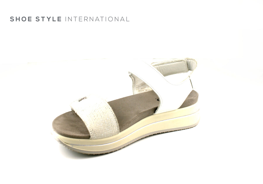 Igi & Co Shoes, Open Toe Sandals with Velcro Straps to Close, Colour White, Shoe_Style_International-Wexford-Gorey-Ireland