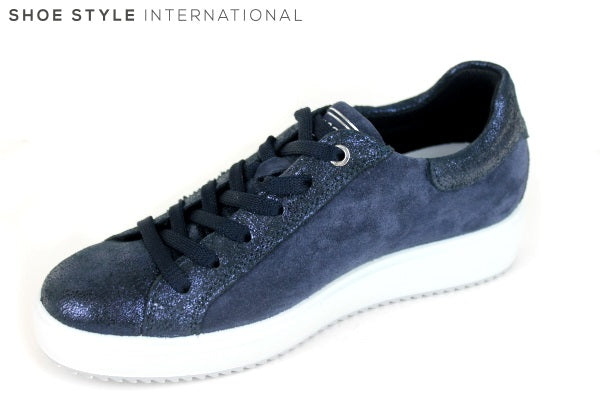 Igi & Co 11487111 is lace up fashion trainer, it has pearl & diamante detail on the side, colour navy, shoe style international Wexford Gorey Ireland