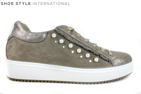 Igi & C0 1147833 lace-up fashion runner, with pearl & diamante detail on the side, Shoe Style International Wexford Gorey Ireland