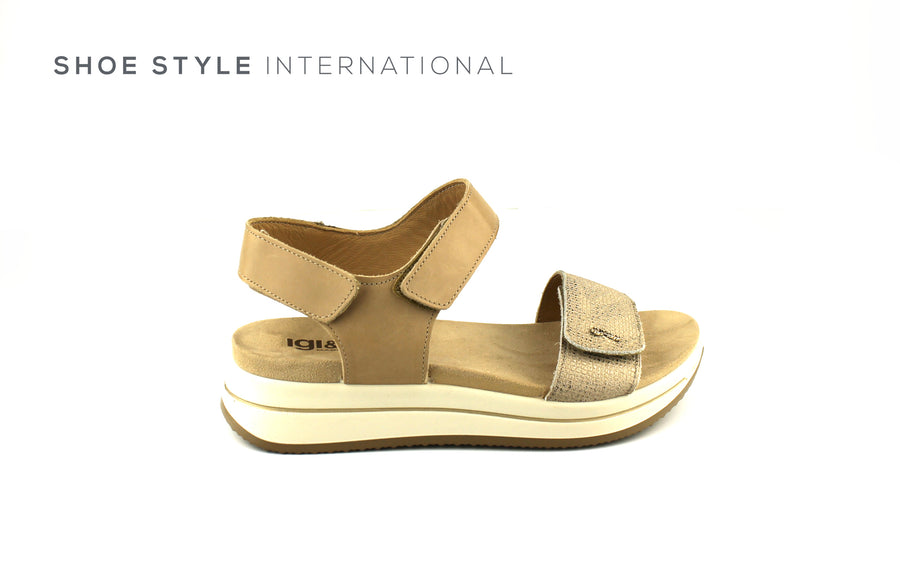 Igi & Co Shoes, Open Toe Sandals with Velcro Straps to Close, Colour Taupe, Shoe_Style_International-Wexford-Gorey-Ireland