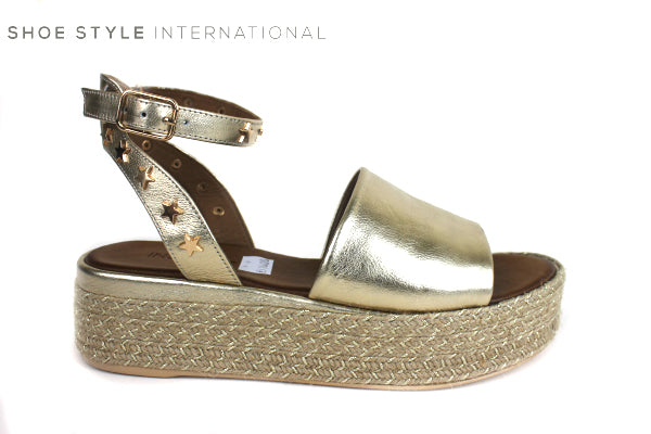 Flatform Sandal, Inuovo 8888, Colour Gold with Ankle Strap, Shoe Style International , Wexford Gorey Ireland