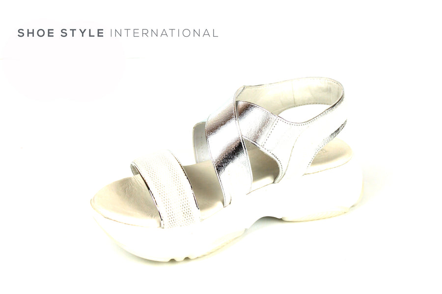 Inuovo 115005 Silver Mettalic Sporty Slip-on Sandal, Shoe Style International Wexford Gorey Ireland, Online Shoe Shopping Ireland