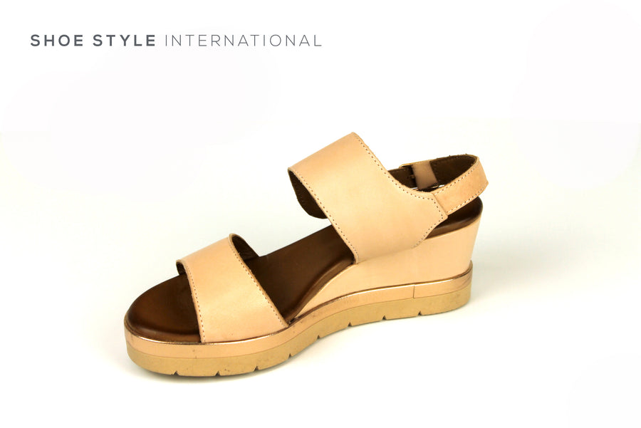 Inuovo Sandals, Inuovo Shoes, Open Toe Wedge Sandal in Blush Colour with Ankle Strap to Close, Shoes Online Ireland, Shoe Style International location Wexford Gorey Ireland