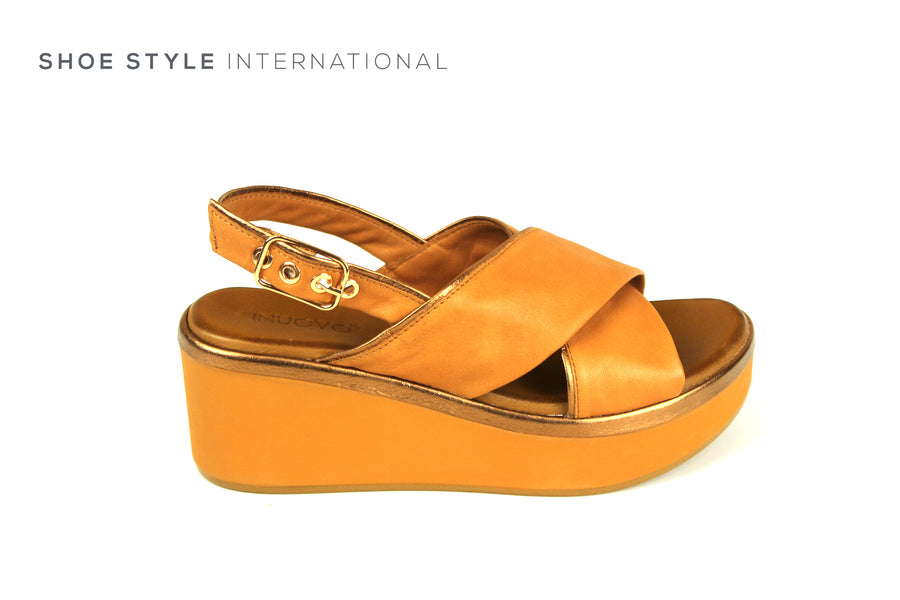 Inuovo Sandals, Inuovo Shoes, Open Toe Wedge Sandals in Tan with Ankle Closing, Shoe Style International location wexford gorey ireland, shoes online ireland