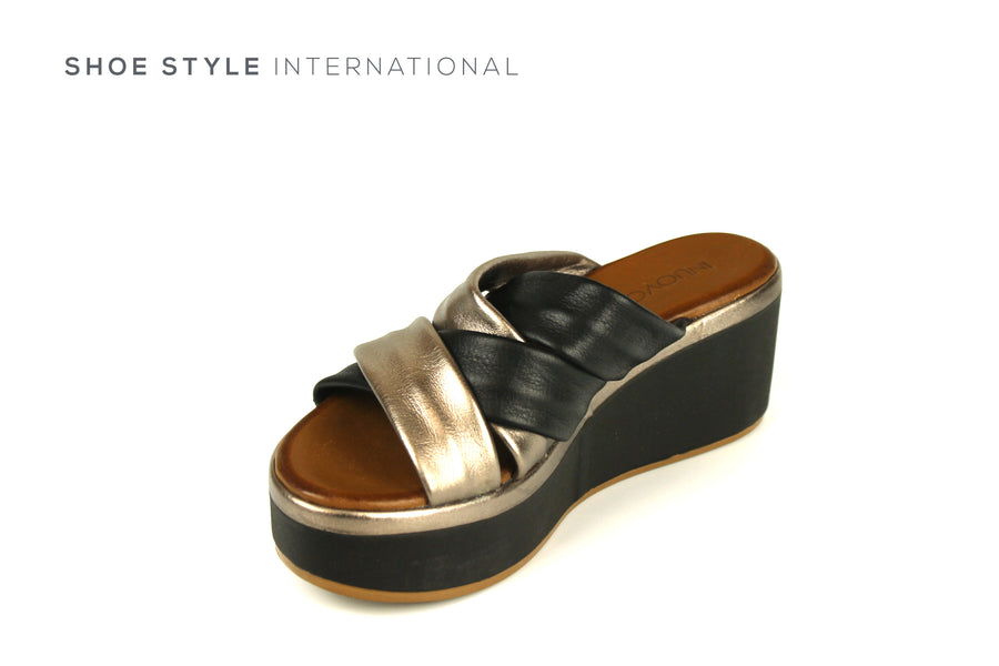 Inuovo Sandals, Inuovo Shoes, Open Toe Wedge Mule in Black, Shoe Style International Location Wexford Gorey Ireland, Shoes Online Ireland