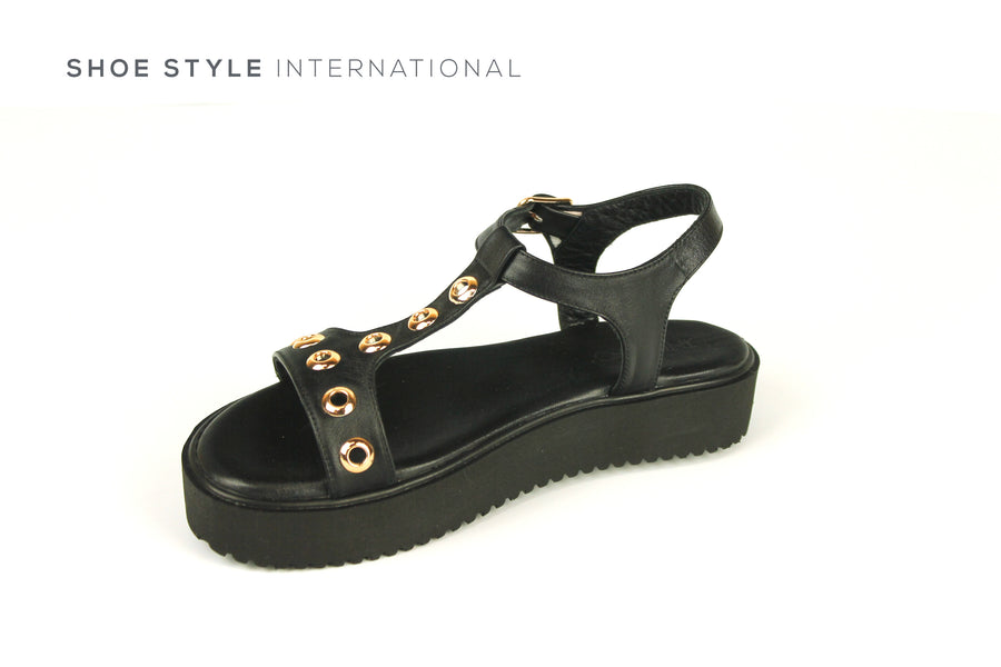 Inuovo Sandals, Inuovo Shoes, Open Toe Black Sandals with Gold Eyelet Detail, Shoe Style International Wexford Gorey Ireland