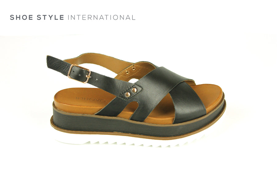 Inuovo Sandals, Inuovo 129003 Black Open Toe Sandal with Ankle Strap Closing. Shoe Style International, Online Shoes in Ireland, Location Wexford and Gorey Ireland