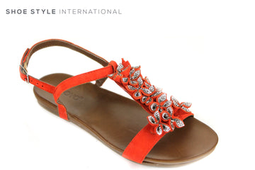 Inuovo 8593, Open toe sandal with a sling back closing. Colour is red with some flower detail in Colour Red along the front of the foot. Shoe Style International, Wexford, Gorey Ireland