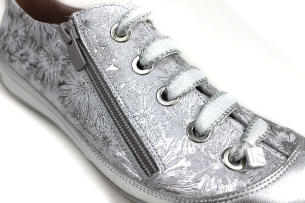 Jose Saenz 1006, Zip fastening shoes with laces as decorations, Colour Silver with Flower details Shoe Style International