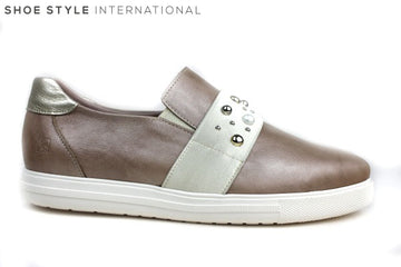 Jose Saenz 1004 flat slip-on shoe, shoe has pearl detail strap across the front of the shoe, Colour Taupe, Shoe Style International