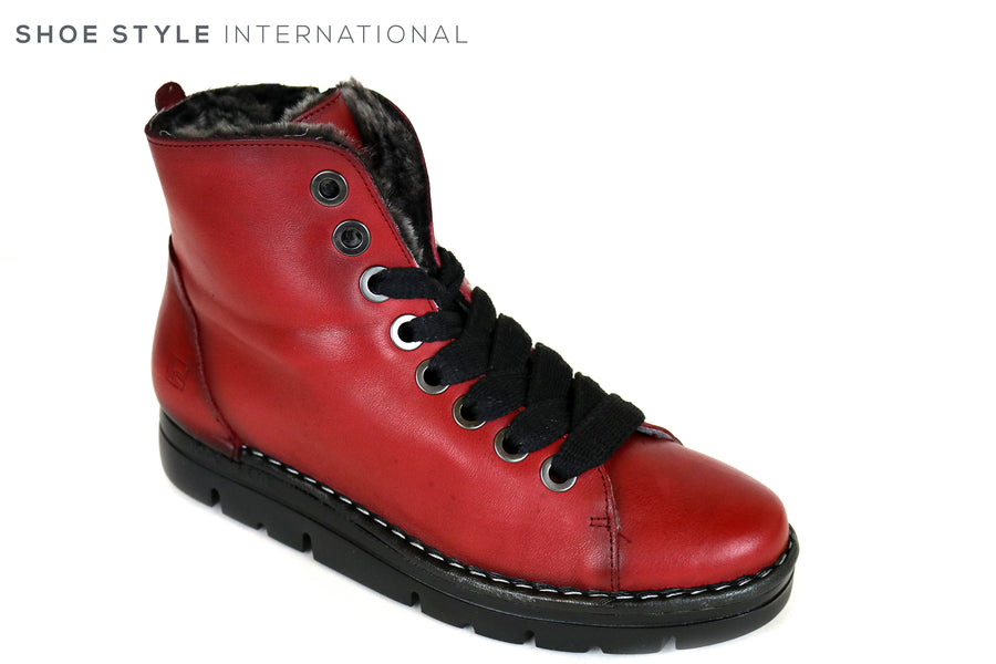 Jose Saenz 2008, Flat Lace up Ankle Boot, Red in Colour, Inside is Fleece lined for extra comfort, Ireland Shoe Shops online, Shoe Style International, Location Wexford Gorey and Ireland