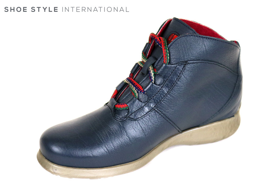 Jose Saenz 2008 Flat Lace up Ankle Boot colour Navy, inside is fleece lined,Ireland Shoe Shops online, Shoe Style International, Location Wexford Gorey and Ireland