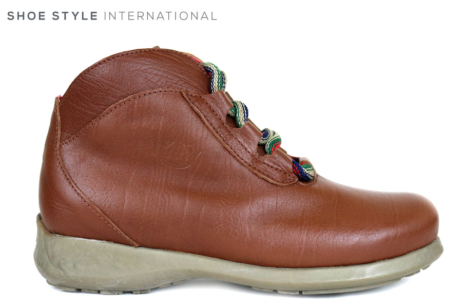 Jose Saenz 2008 Flat Lace up Ankle Boot colour Tan, inside is fleece lined,Ireland Shoe Shops online, Shoe Style International, Location Wexford Gorey and Ireland