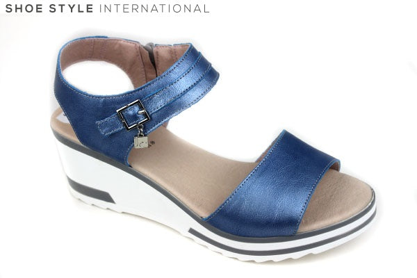 Jose Saenz 4005, Wedge sandal with ankle strap, colour: blue Shoe Style International