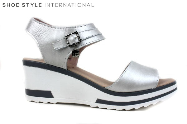 Jose Sanez 4005 Silver Wedge Sandal with Ankle strap and zip to close, Shoe Style International Wexford Gorey Ireland