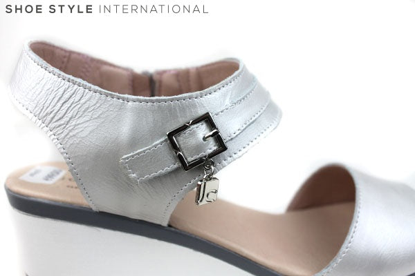 Jose Sanez 4005, Silver Wedge Sandal with Ankle strap and zip to close, Shoe Style International Wexford Gorey Ireland