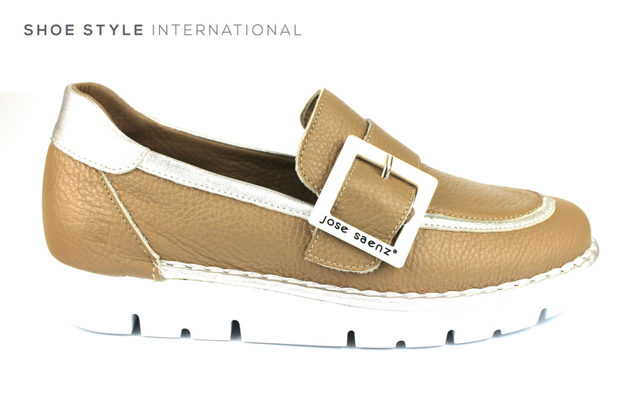 Jose Saenz 2017 Slip-on Loafer with Buckle detail colour Taupe Leather White Buckle, Ireland Shoe Shops online, Shoe Style International, Location Wexford Gorey, Ireland
