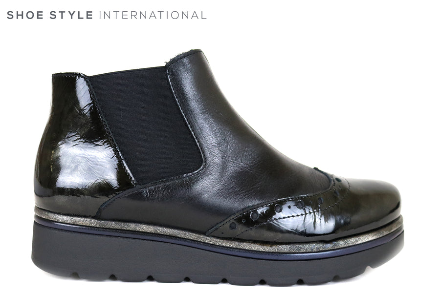 Jose Sanez 2024 Flat Ankle Pull on Ankle Boot in Black, Ireland Shoe Shops online, Shoe Style International, Location Wexford Gorey and Ireland