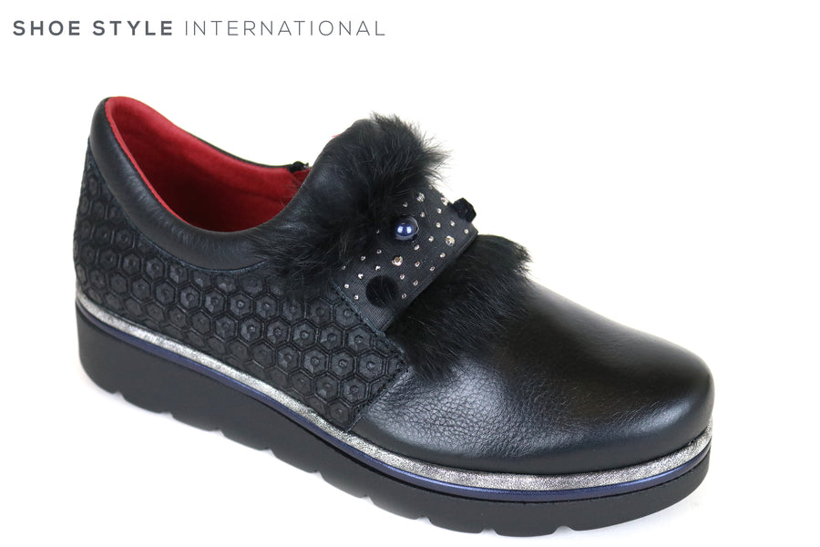 Jose Saenz 2032 Black Flat Shoe with Fur Faux Detail and Elastic strap, Colour Black, Ireland Shoe Shops online, Shoe Style International, Location Wexford Gorey and Ireland