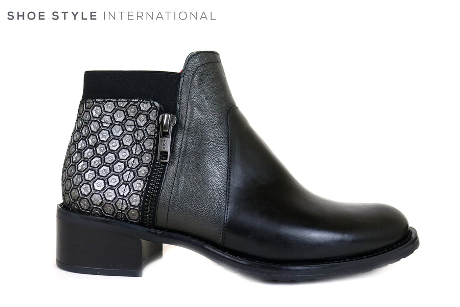 Jose Saenz 2374, Low Heel Ankle Boot with Side Zip Closing, Colour Black with Mettalic design on the heel, Ireland Shoe Shops online, Shoe Style International, Location Wexford Gorey and Ireland