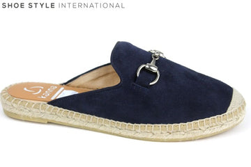 Kanna 1769 Mule Style Espardille, Flat slider perfect for casual wear colour Navy, Shoe Style International Wexford Gorey Ireland