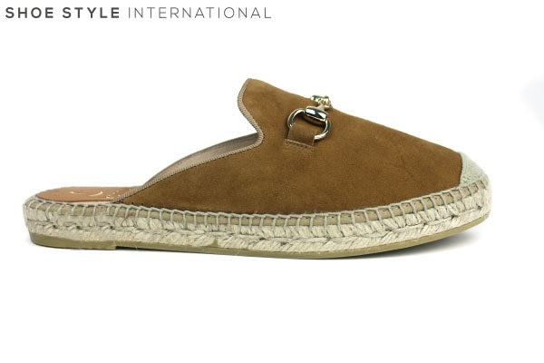 Kanna 1769 Mule Style Espardille, Flat slider perfect for casual wear colour tan, Shoe Style International Wexford Gorey Ireland