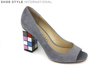 Katy Perry Catlin Suede shoe, is a peep toe slip on shoe. The block color is grey and square block shaped high heel has different colors each square pattern. Shoe Style International Wexford Gorey Ireland
