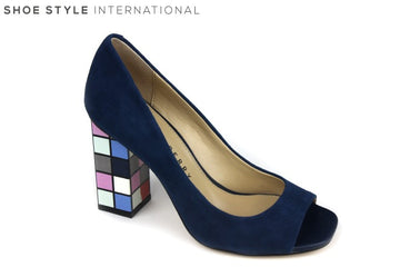 Katy Perry Catlin Sude shoe, is a peep toe slip on shoe. The block color is navy and square block shaped high heel has different colors each square pattern. Shoe Style International Wexford Gorey Ireland