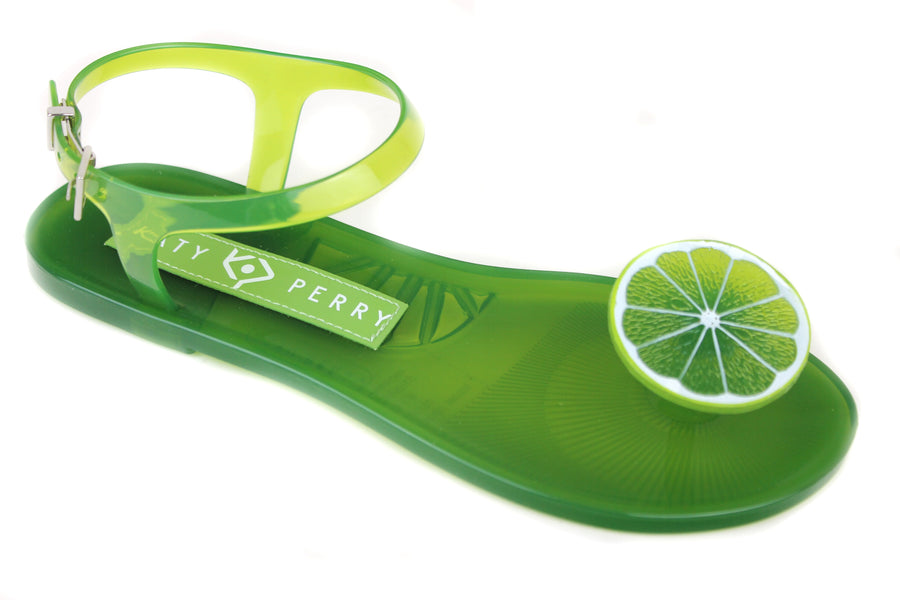 Katy Perry Gelli , Open toe Sandals with toepost and ankle strap closing,  these Gelli Sandals are Lime in colour and have a slice of a Lime design at the toe post. They also have a scent of Lime, Shoe Style International