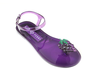 Katy Perry Gelli , Open toe Sandals with toepost and ankle strap closing,  these Gelli Sandals are Purple in colour and have a Blackberry design at the toe post. They also have a scent of a Blackberry, Shoe Style International