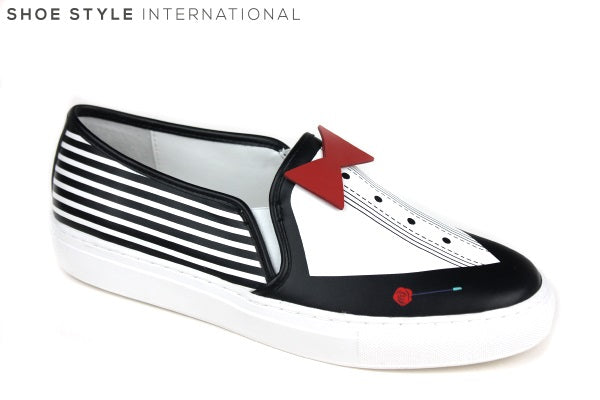 Katy Perry Klass is a Tuxedo inspired Slip-on shoe. Colour is Black / White / Red with Tuxedo design at the front of the shoe. Shoe Style International Wexford Gorey Ireland