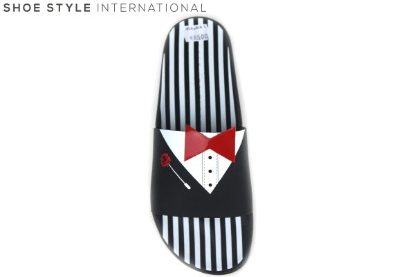 Katy Perry Manna, this is a flat slider with the design of Tuxedo, Colour: Black/White, Shoe Style International Wexford, Gorey, Ireland