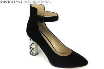 Katie Perry Stacie, Stacie is a high heel ankle strap shoe with closed toe. The heel has a design of domino's. Block Colour is black. Shoe Style International Wexford Gorey Ireland